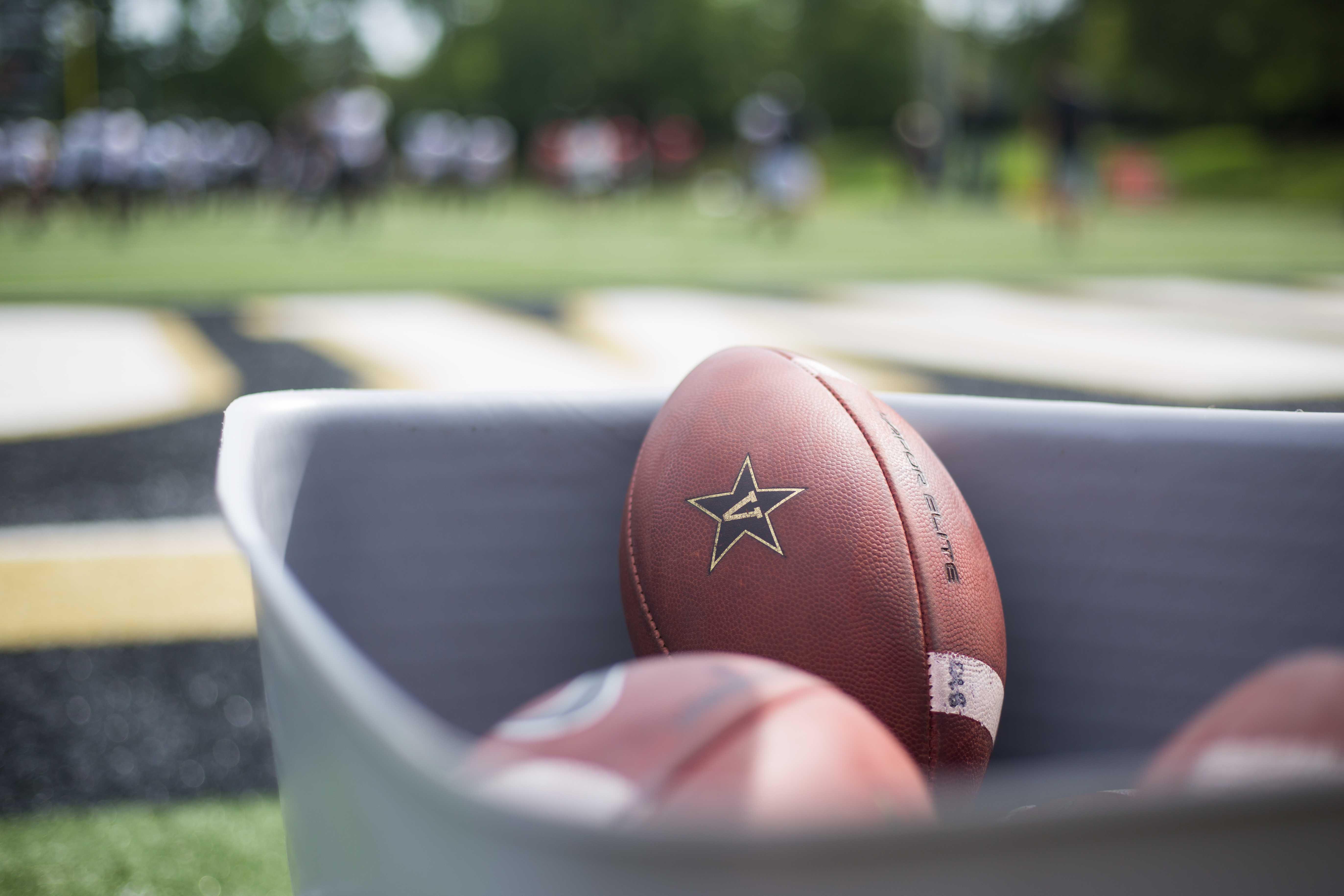 Vanderbilt football players practice on Thursday, August 16, 2018. (Photo by Claire Barnett)