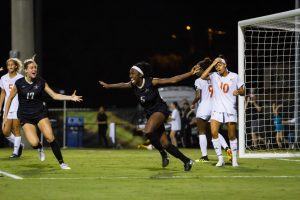 Myra Konte scores the equalizer against Miami  on Friday August 14, 2018. (Photo by Hunter Long)