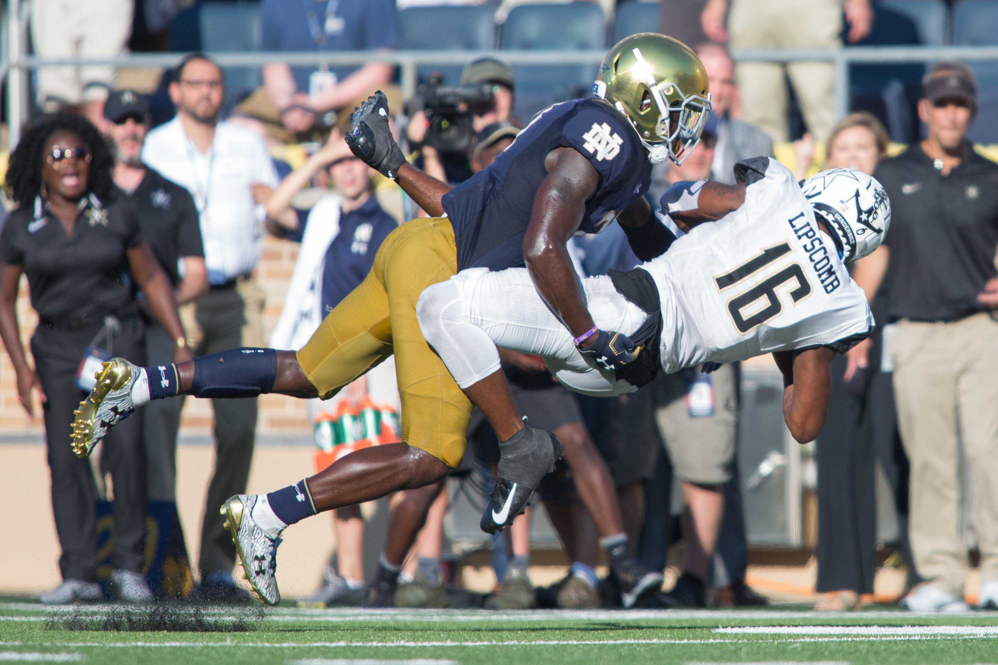 The Vanderbilt Football team plays at Notre Dame on Saturday, September 15, 2018. The Commodores lost 17-22. (Photo by Claire Barnett)