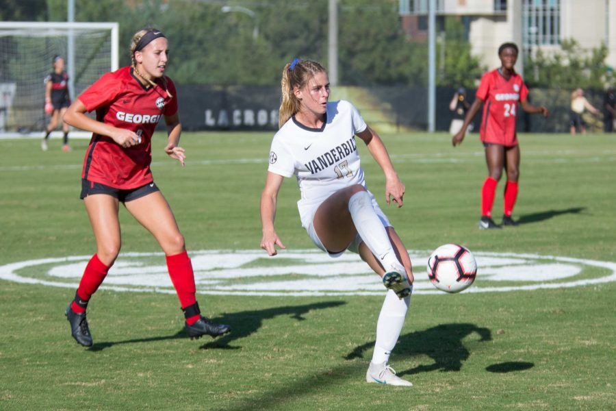 The Vanderbilt Soccer team plays UGA on Sunday, September 30, 2018. The Commodores won 5-0, extending their lengthy winning streak. (Hustler Multimedia/Claire Barnett)