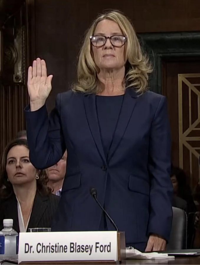 Christine+Blasey+Ford+swearing+in+before+the+Senate+Judiciary+Committee.+Photo+credits%3A+United+States+Senate+Committee+on+the+Judiciary.