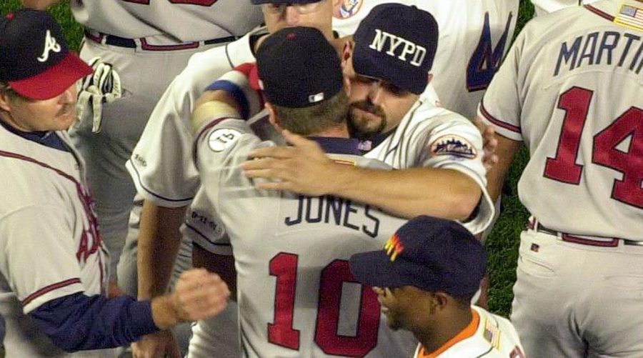 Mike+Piazza+and+Chipper+Jones+Embrace+after+the+game.+Photo+by+Mark+Lennihan%2C+AP+Photos%2FSports+Illustrated