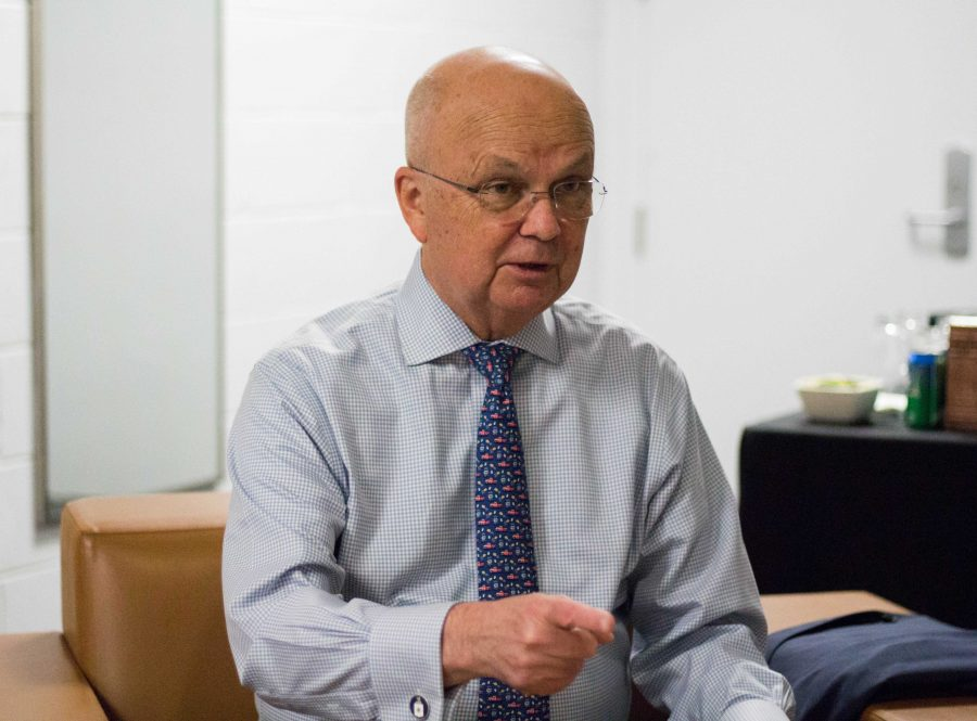 VH interviews General Michael Hayden, former director of the NSA and CIA, before the Chancellor's Lecture Series discussion entitled