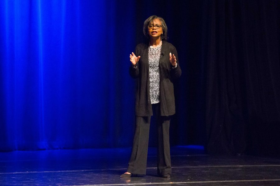 Anita Hill speaks in Langford Hall at Vanderbilt University on Sunday, October 28, 2018. (Photo by Claire Barnett)