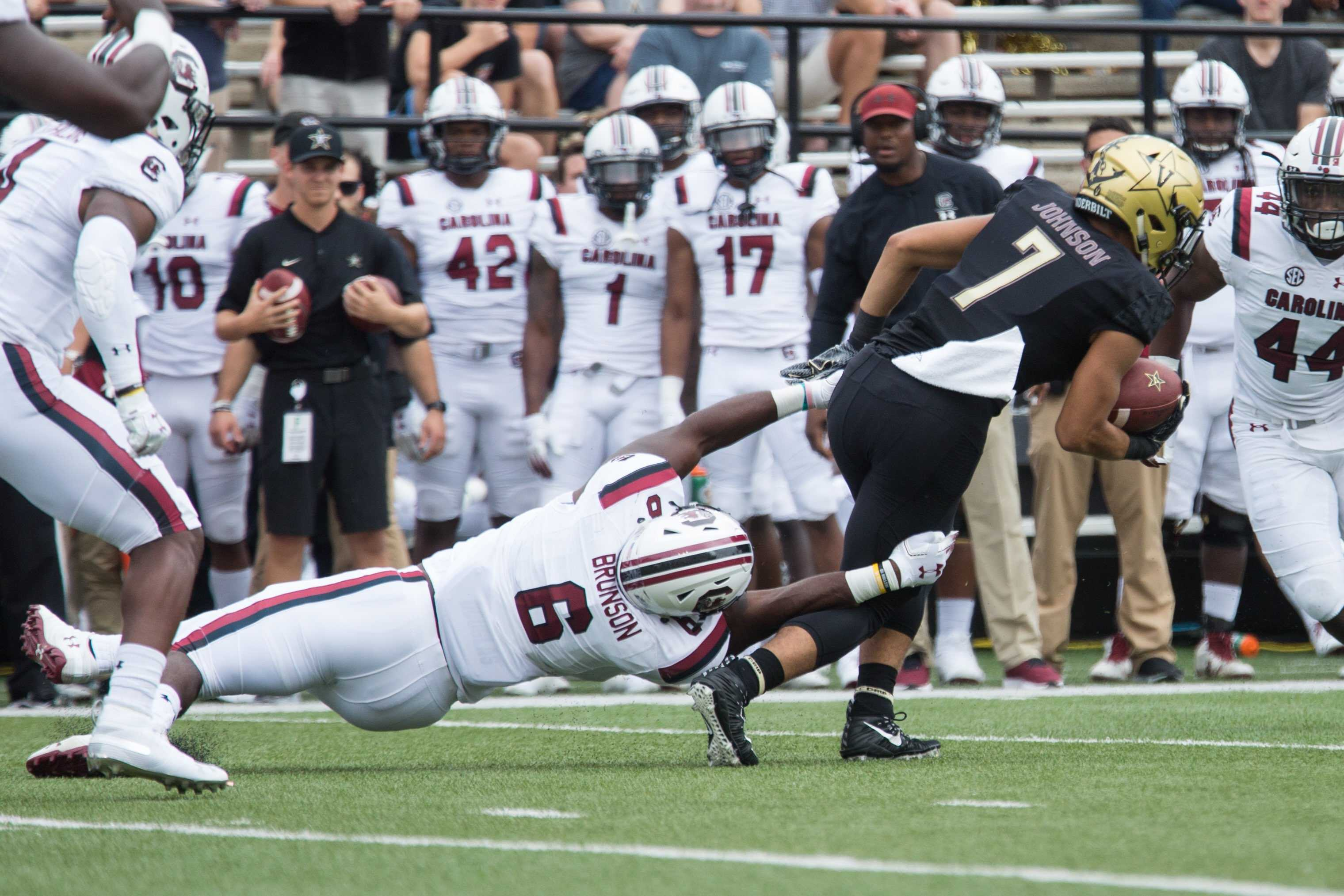 The Commodores play South Carolina in their first SEC football matchup of the season on Saturday, September 22, 2018. Vanderbilt lost 37-14 at home. (Photo by Claire Barnett)