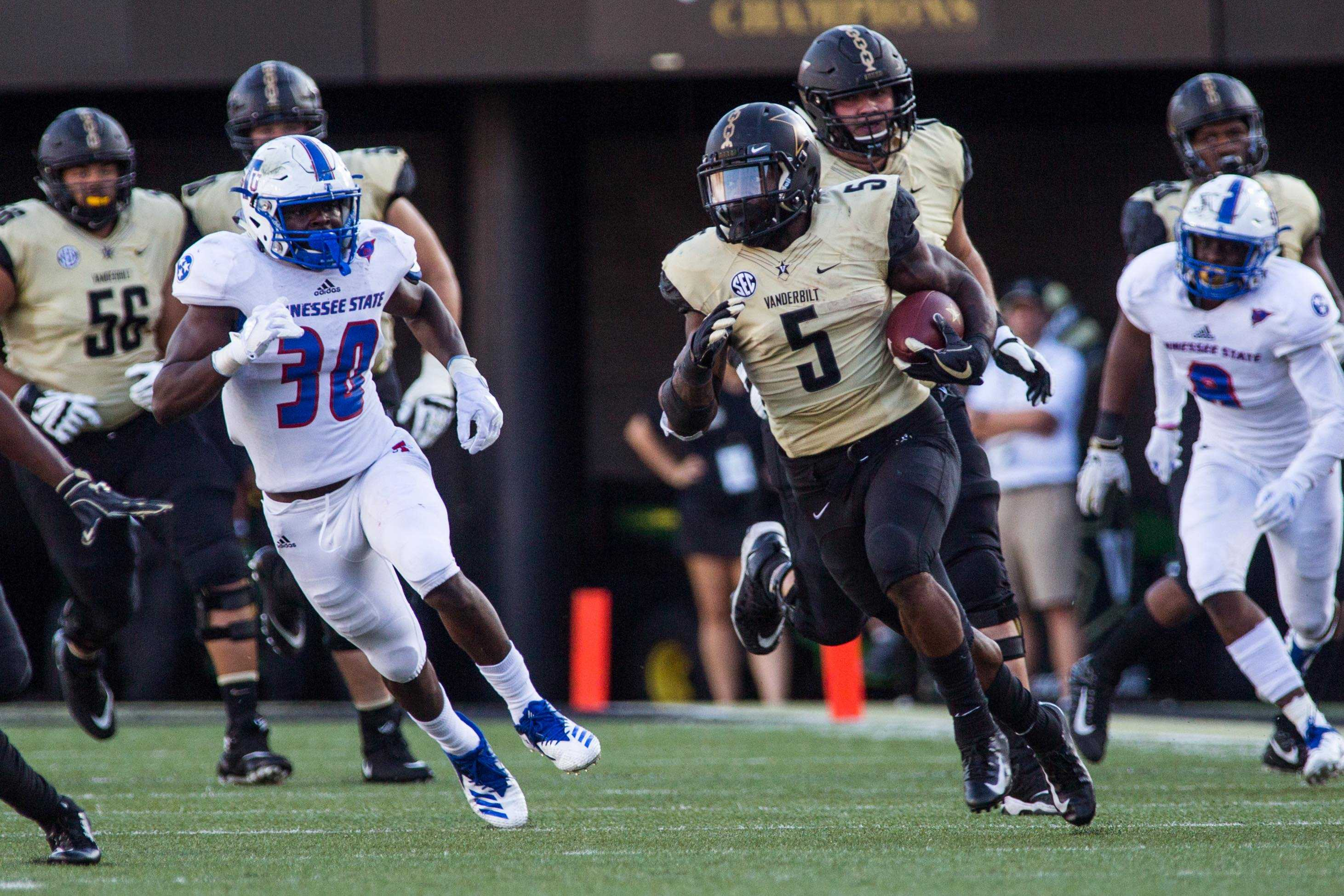 Vanderbilt plays Tennessee State in football on Saturday, September 29, 2018 at home. The Commodores won 31-27. (Photo by Claire Barnett)
