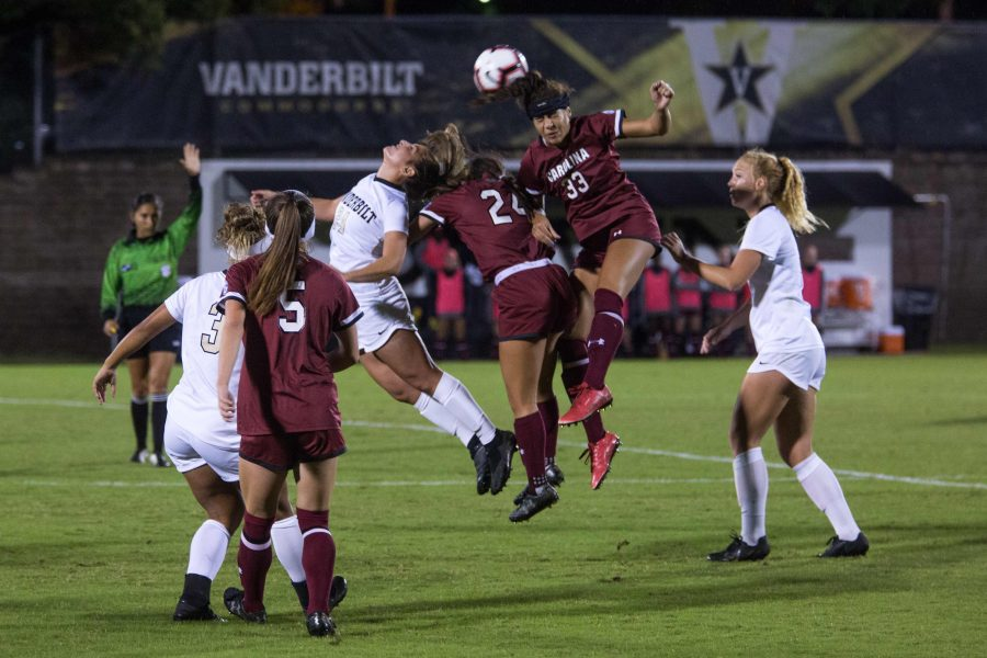Vanderbilt+soccer+plays+the+USC+gamecocks+on+Friday%2C+October+12%2C+2018.+The+final+score+after+double+overtime+was+0-0.+%28Photo+by+Claire+Barnett%29