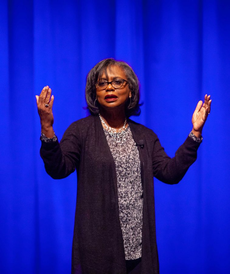 Anita Hill speaks in Langford Auditorium, Oct. 28, 2018. Photo by Madison Lindeman