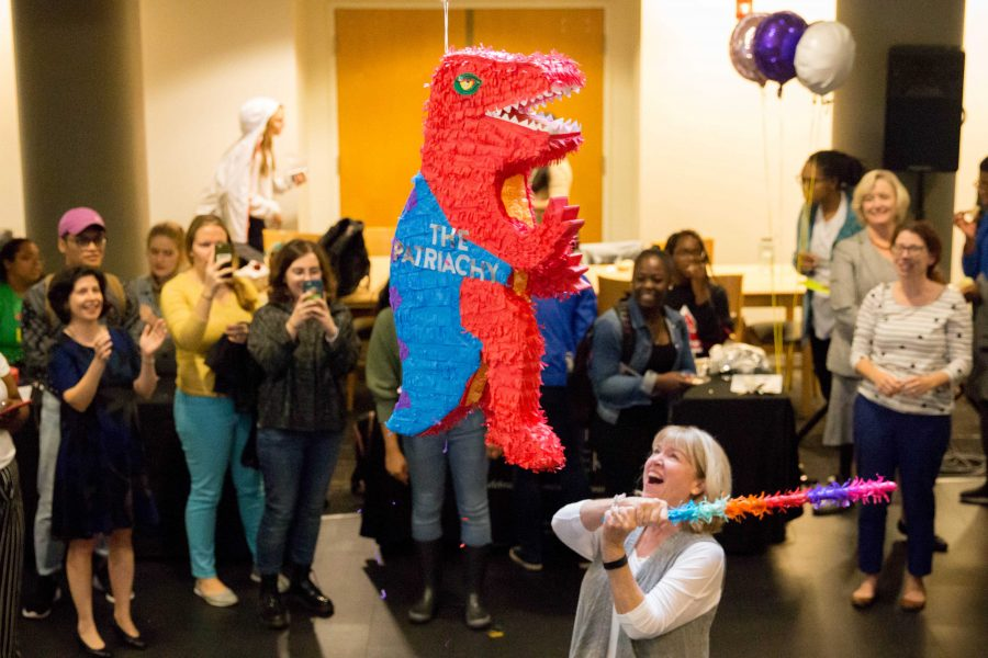 The Margaret Cuninggim Women's Center celebrates its 40th birthday on Thursday, November 1, 2018 at Sarratt Promenade. The event featured speeches from distinguished guests such as Chancellor Nicholas Zeppos and Provost Susan Rae Wente as well as food, a performance by Voce A Capella and the smashing of the patriarchy piñata. (Photo by Emily Gonçalves)
