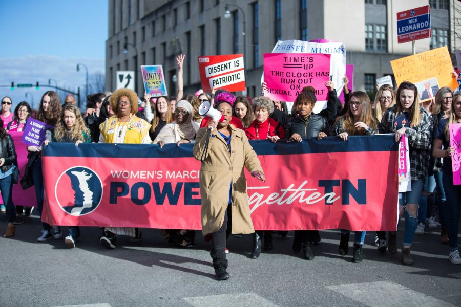 Protesters+demonstrate+in+downtown+Nashville+as+a+part+of+the+Women%27s+March+2.0+on+Saturday%2C+January+20%2C+2018.+%28Photo+by+Claire+Barnett+%2F%2F+The+Vanderbilt+Hustler%29