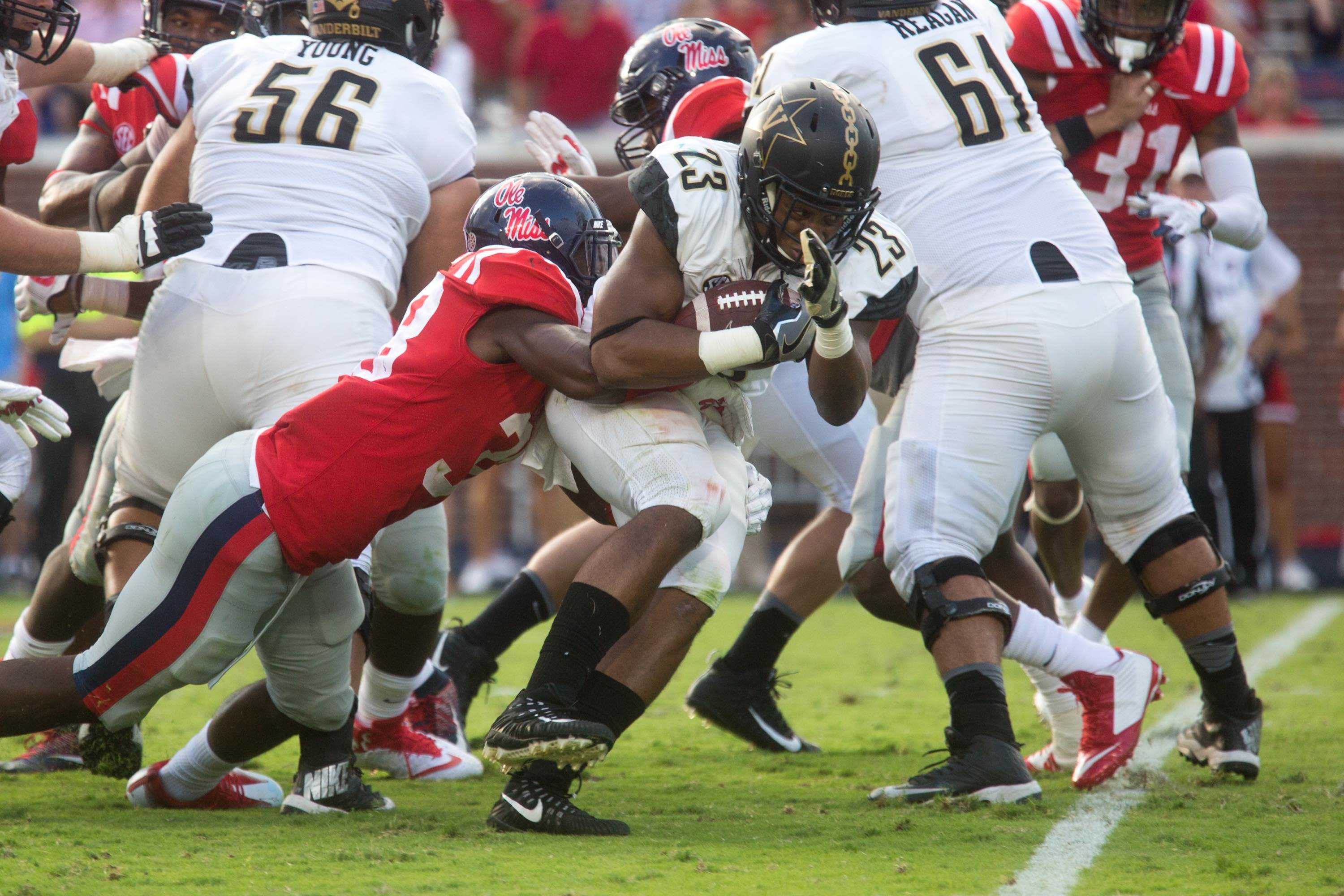 The Commodores play football at Ole Miss on Saturday, October 14, 2017.  Photo by Claire Barnett