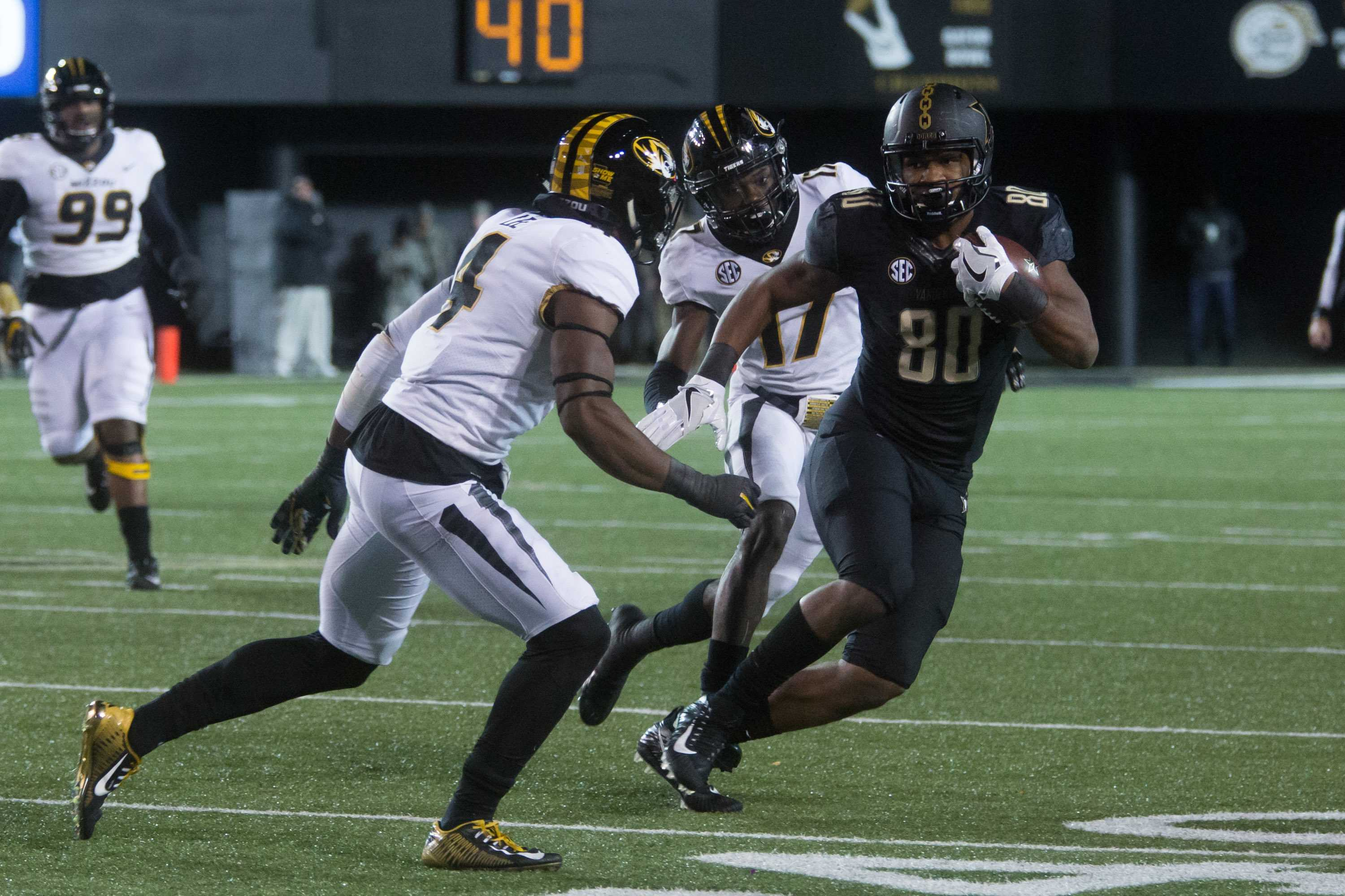 The Commodores fell Missouri 45-17 on Saturday, November 18, 2017. (Photo by Claire Barnett)