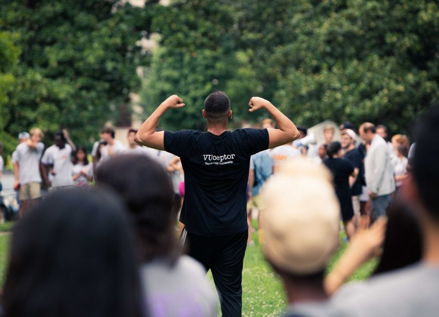 A VUCeptor celebrates at the 2018 Founder's Walk. Photo by Hunter Long // The Vanderbilt Hustler