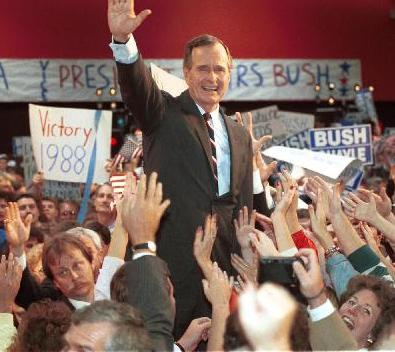 Then-Vice President George H. W. Bush on the 1988 presidential campaign trail in Omaha, Nebraska