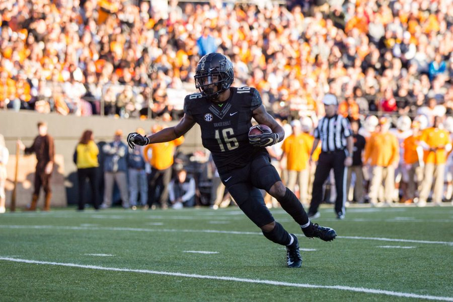 The Commodores defeat the Tennessee Volunteers in football for the third year in a row, ensuring Vanderbilt's bowl eligibilty. The final score was 38-13. (Photo by Claire Barnett)