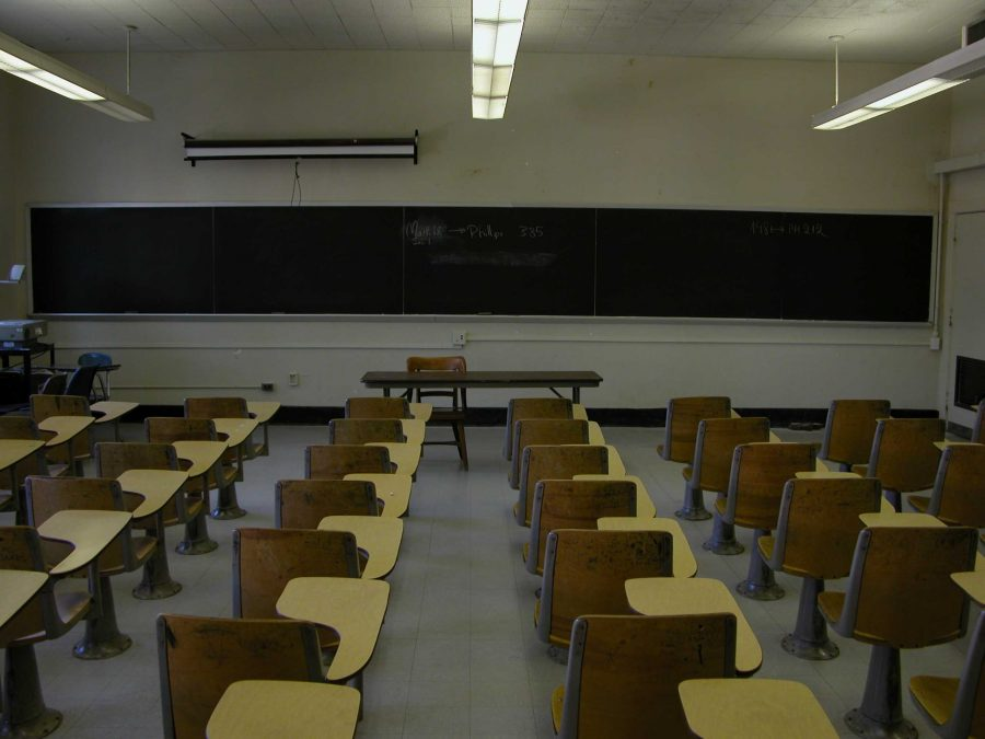 Empty college classroom. Photo by Ildar Sagdejev.