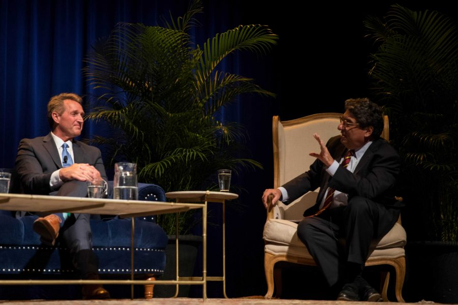 Former U.S. Senator Jeff Flake and journalist Zoe Chace speak with Chancellor Zeppos and Jon Meacham at the Chancellors Lecture Series at Langford Auditorium on Thursday, January 17, 2019. Flake discussed his book Conscience of a Conservative: A Rejection of Destructive Politics and a Return to Principle and shared his perspective on the current American political climate. (Photo by Emily Gonçalves)