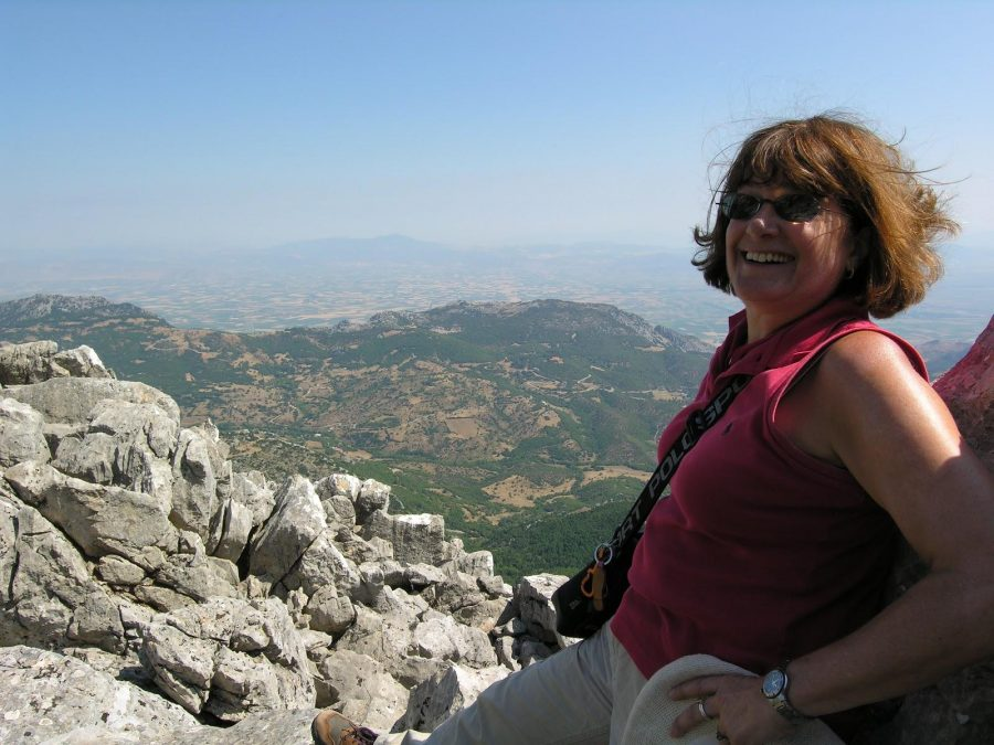 Pictured: Barbara Tsakirgis atop Mt. Helikon in Greece, summer 2009 (photo credit Betsey Robinson)