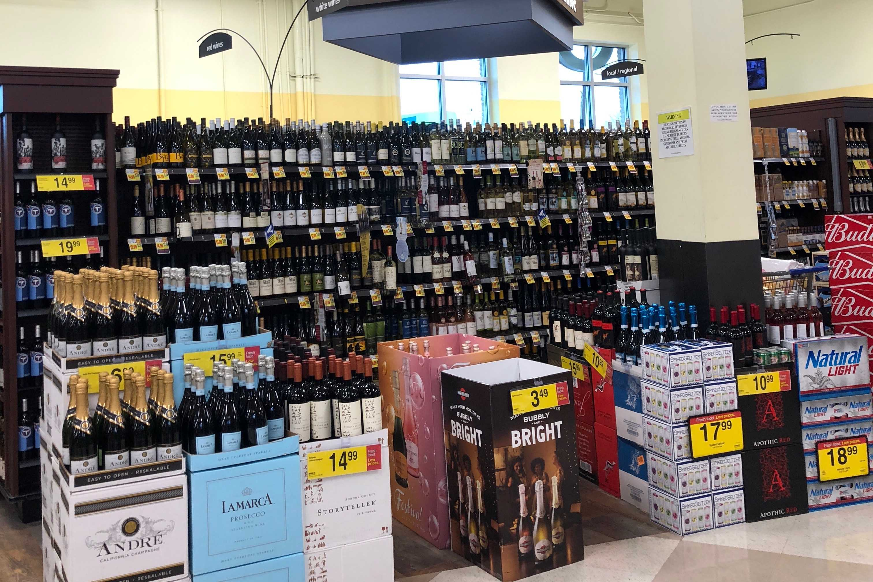 The alcohol sales section at Kroger Grocery Store on 21st Ave. (Photo by Rachel Friedman)