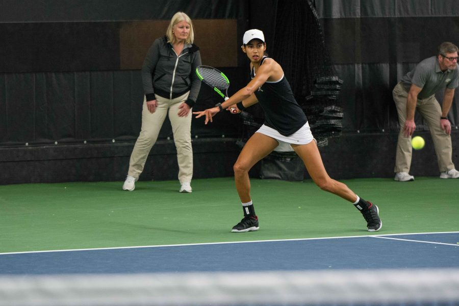 Astra Sharma and the Vanderbilt Women's Tennis Team faces off against Nebraska on Friday, January 26, 2018. (Hustler Multimedia/Brent Szklaruk)