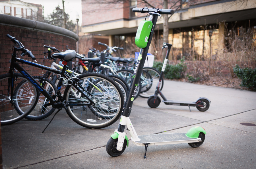 A Lime scooter parked in front of Commons Center. Photo by James Long // The Vanderbilt Hustler