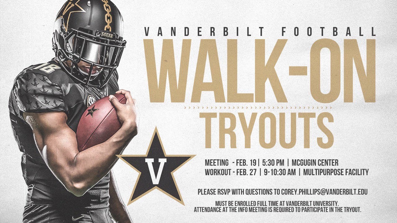 Vanderbilt Football to hold walk-on tryouts this month
