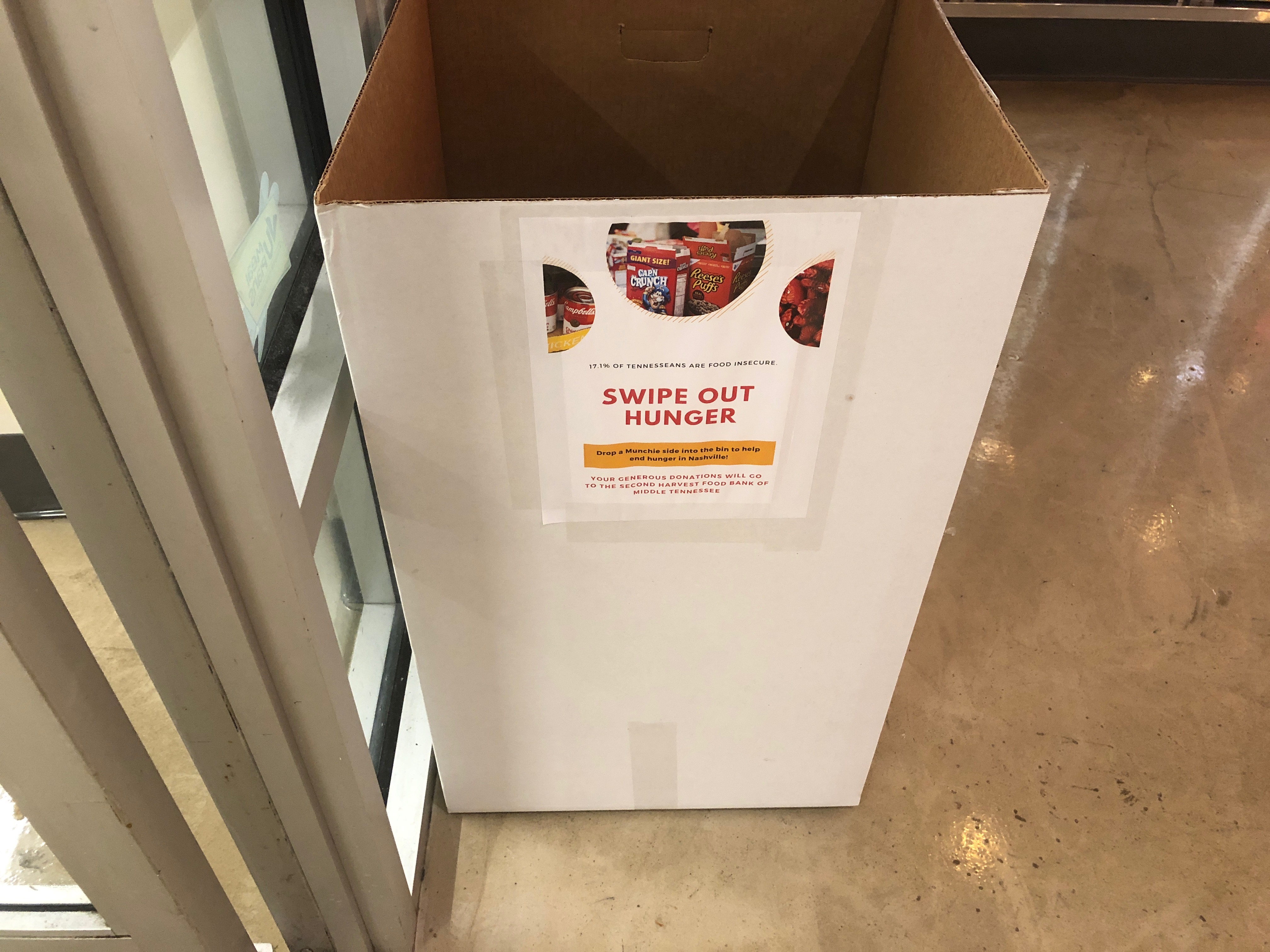 Bins are placed in all Munchie Mart locations except for Rand to collect donations. (Photo by Rachel Friedman)