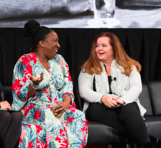 Dr. BethAnn McLaughlin, pictured with #MeToo creator Tarana Burke, received MIT Media Lab's 2018 Disobedience Award