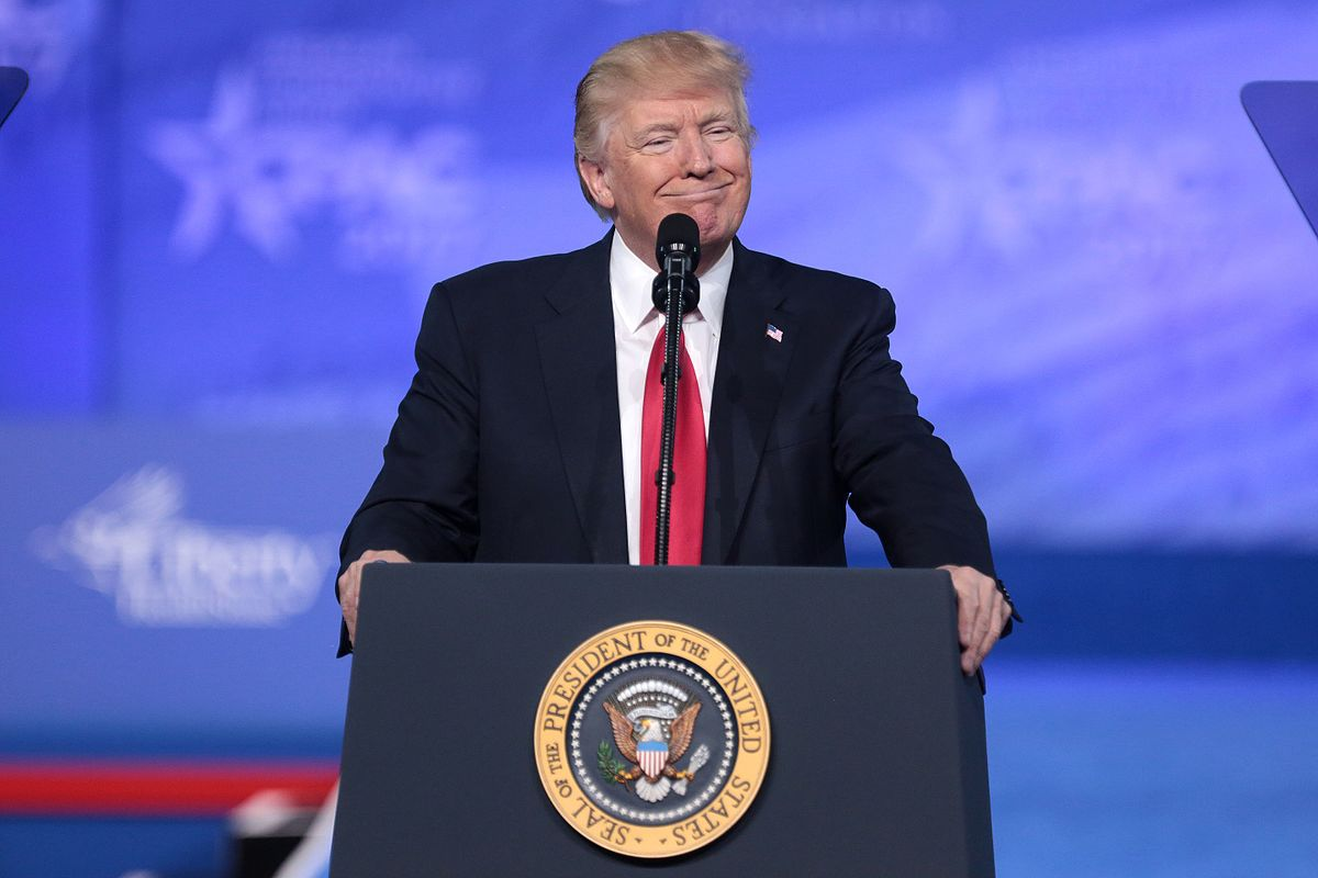 President Trump speaking at the 2017 Conservative Political Action Conference in National Harbor, Maryland.