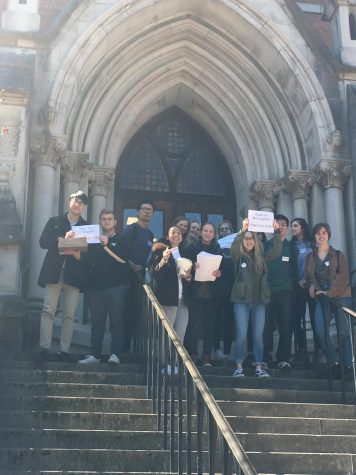 Students march petitions to Chancellor's office in support of Dr. Bethann McLaughlin