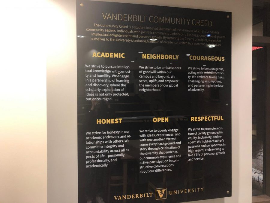 The new community creed is now displayed in the Sarratt Student Chief