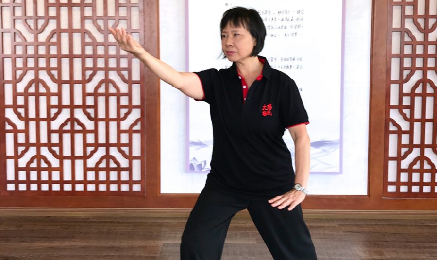 Cindy Hui-Lio leading Tai Chi practice in 2018. (Photo Credit Vanderbilt University)