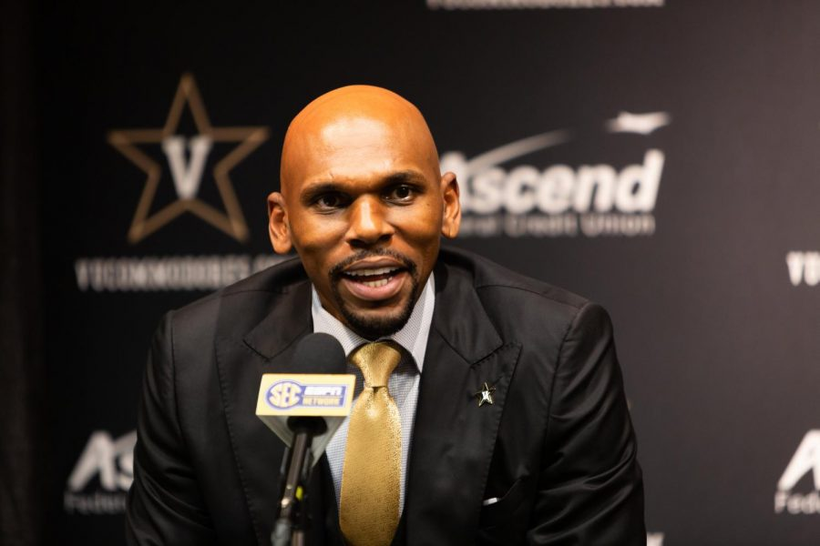 Jerry Stackhouse is introduced as Vanderbilt's head basketball coach on April 8, 2019. Photo by Hunter Long