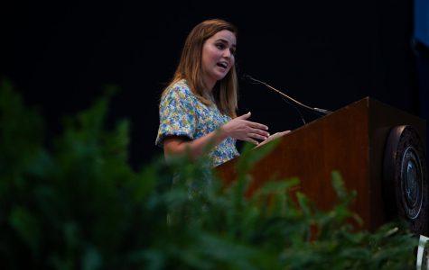 VSG President Frances Burton speaks at Founder's Walk 2019.