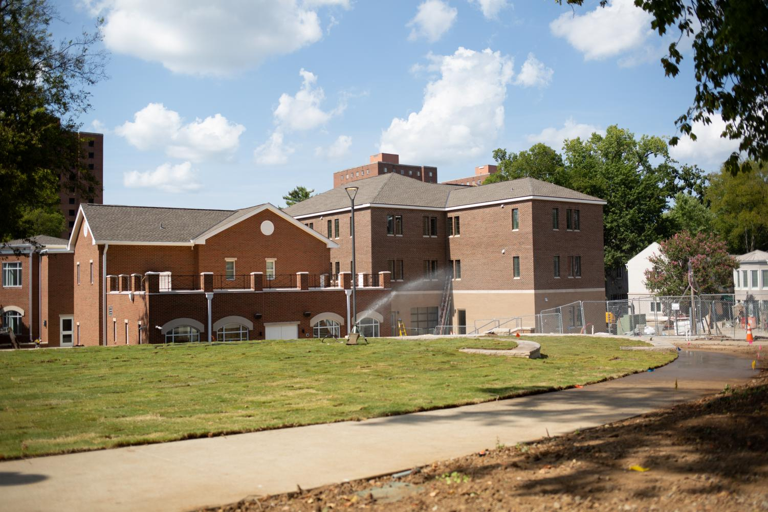 The new Zeta Tau Alpha (left) and NPHC (right) houses, as seen from the green.