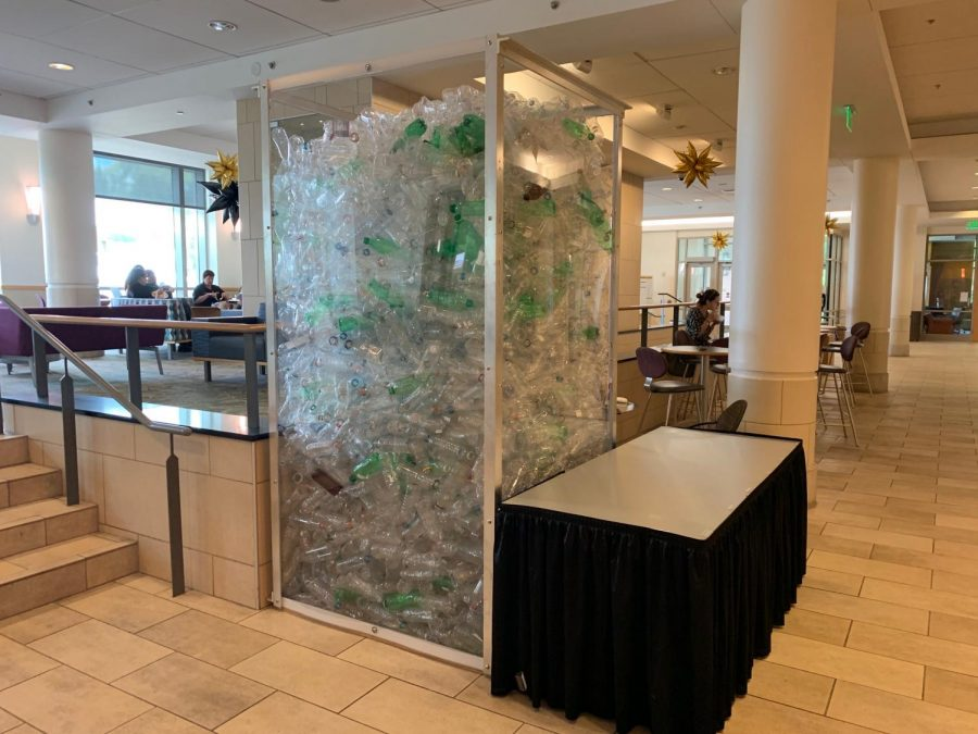 This collection of bottles in Commons Center showcases how many plastic bottles Vanderbilt previously sold in half a week, according to Campus Dining Marketing Manager Jessica Williams. (Photo by Eva Durchholz)