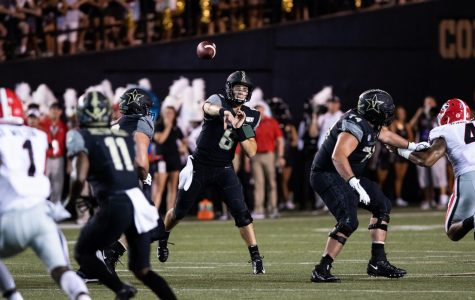 Riley Neal looks to pass as Vanderbilt plays Georgia on Saturday, August 31, 2019. (Photo by Hunter Long)
