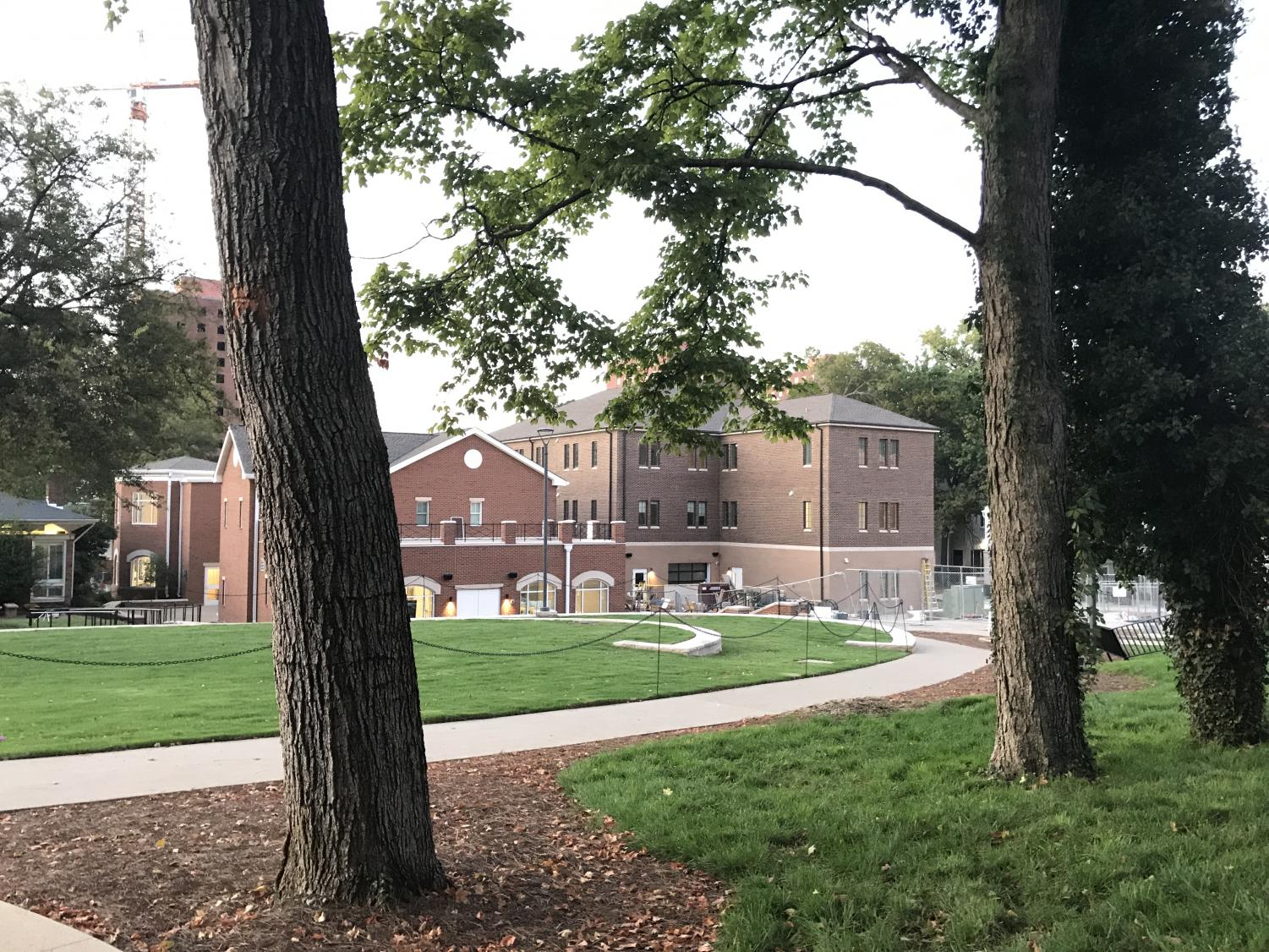 The nearly-competed green space has replaced the roads that used to separate Greek houses. Photo by Mattigan Kelly // The Vanderbilt Hustler