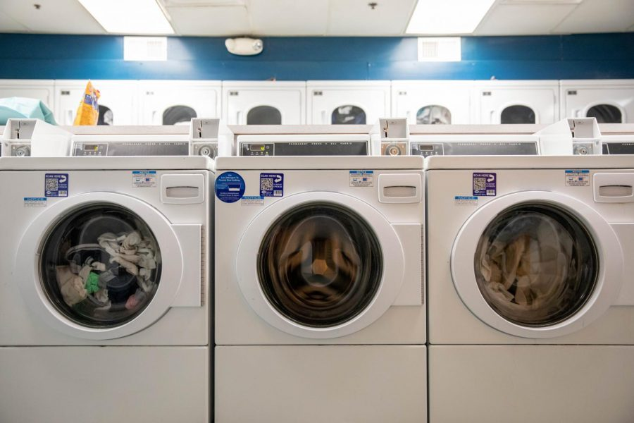 Washing machines in the Lewis laundry room. (Photo by Emily Gonçalves)