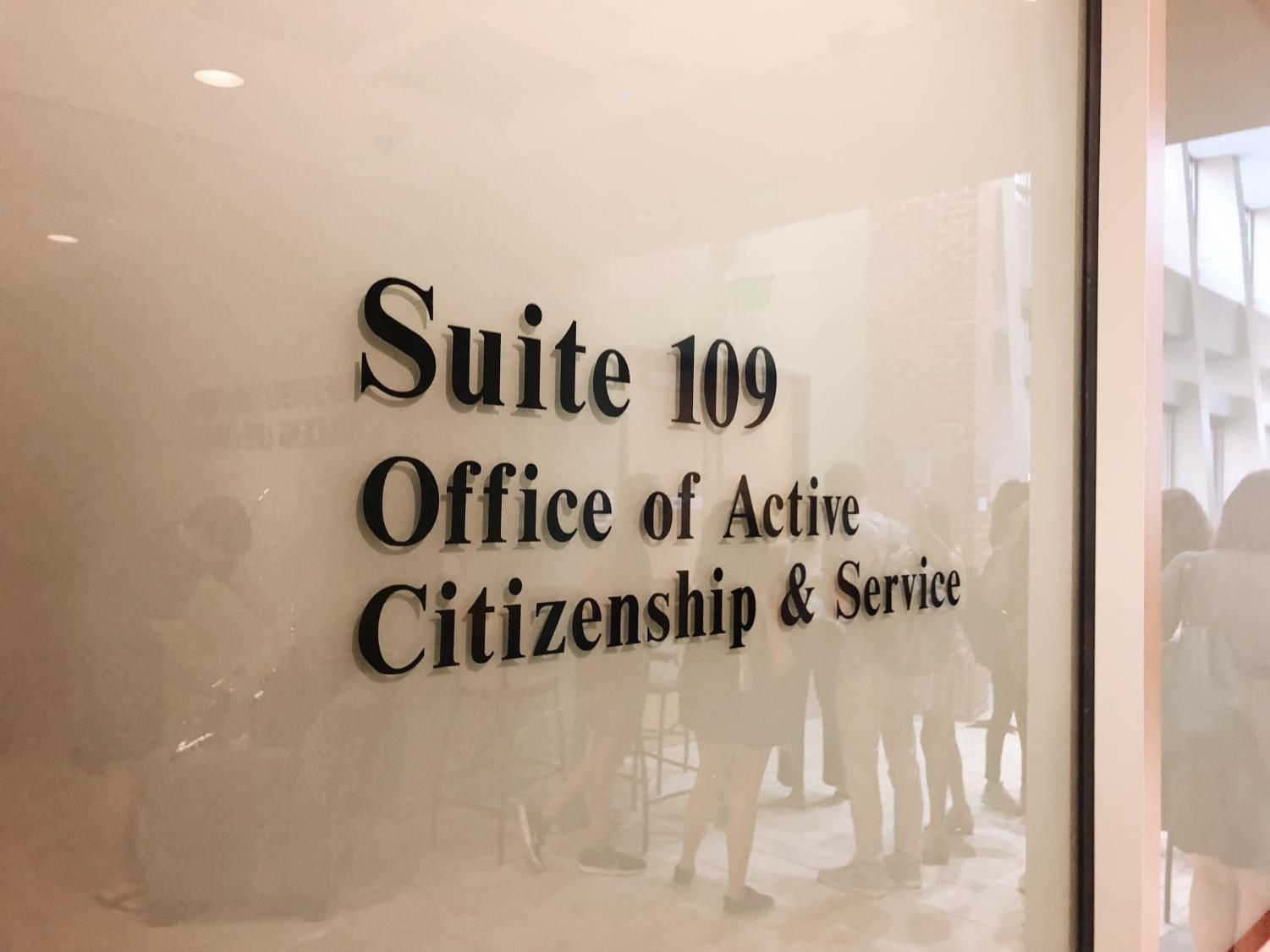 The sign for OACS' new space in Suite 109 in the Student Life Center. (Photo by Emily Gonçalves)