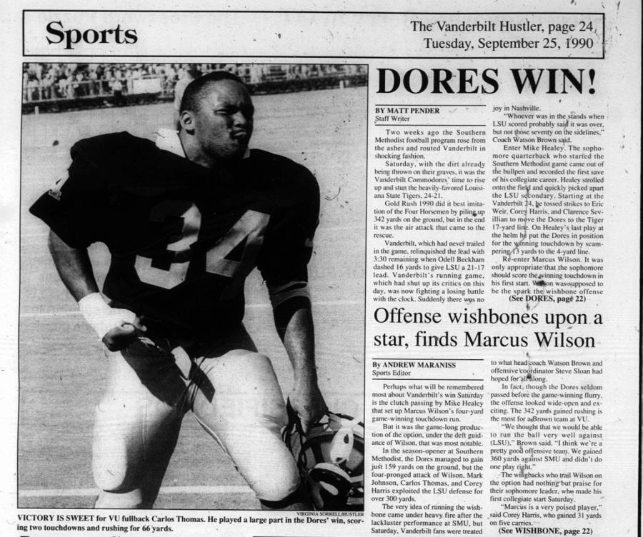 Battle with the Bayou: Revisiting Vanderbilt's last win over LSU in 1990
