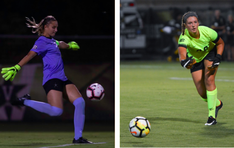 Goalkeepers Lauren Demarchi (left) and Taiana Tolleson (right) are a key part of Vanderbilt's 8-1 start. Photo by Mattigan Kelly.