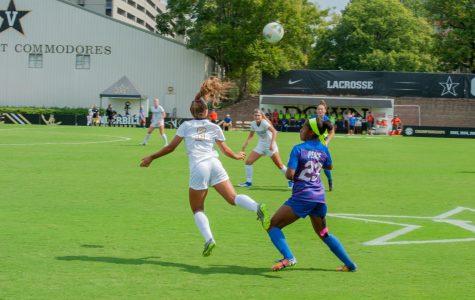 Madiya Harriott (#3) heads the ball over the Florida defender in Vandy's 0-1 loss to Florida at the Vanderbilt Soccer Complex on Sunday, September 29, 2019. (Hustler Multimedia/Truman McDaniel)