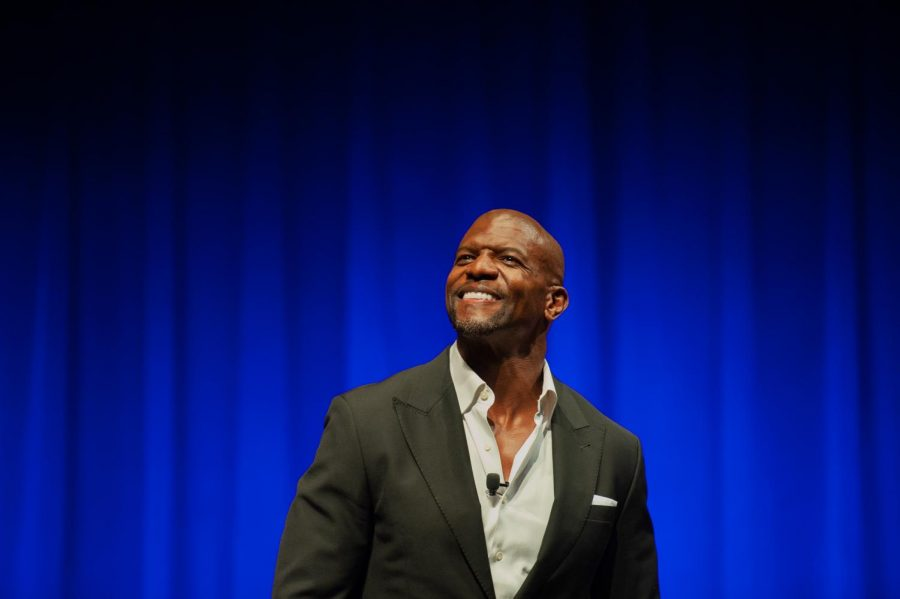 Terry Crews on stage at Langford Auditorium. Photo by Mattigan Kelly.