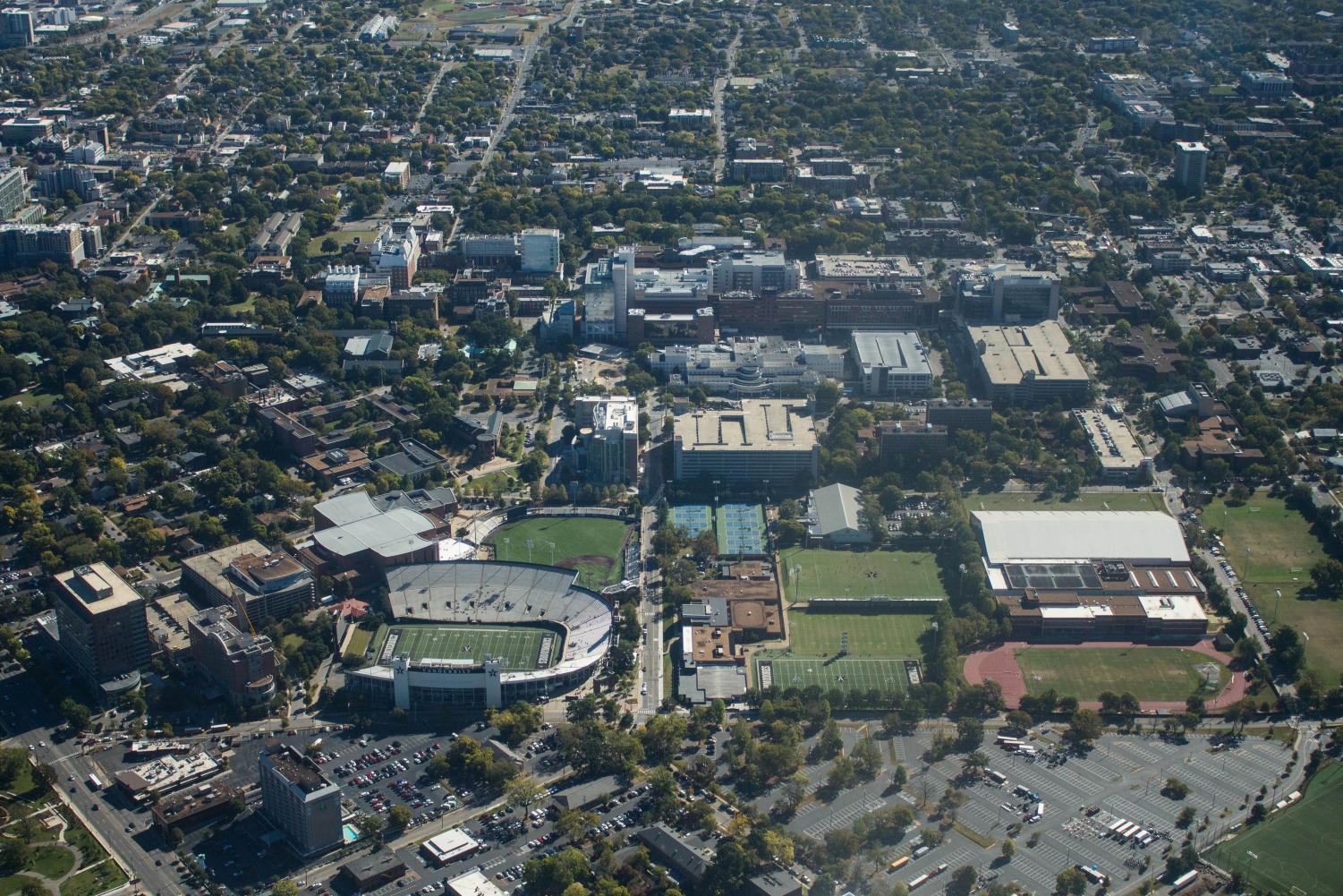 Vanderbilt's campus from an aerial view. Photo by Emily Gonçalves.