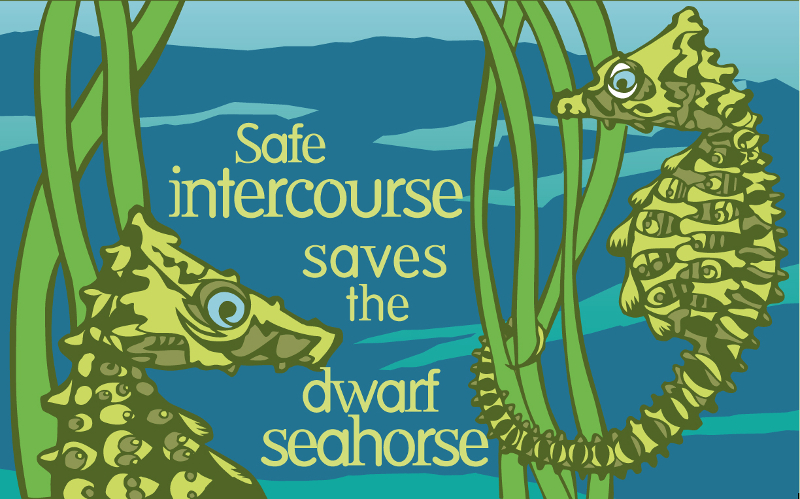 An+Endangered+Species+Condom+packaging+reads%3A+Safe+intercourse+saves+the+dwarf+seahorse.+%28Design+by+Lori+Lieber.+Artwork+by+Roger+Peet.+%C2%A9+2012.+Photo+Courtesy+The+Center+for+Biological+Diversity%29+