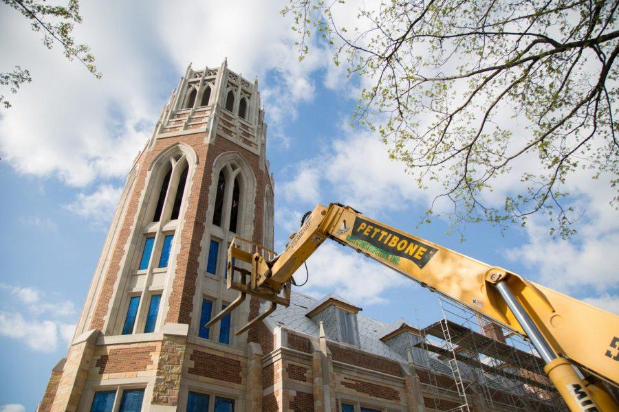 Vanderbilt's newest residential college E. Bronson Ingram, photographed April 18, 2018 while still under construction. (Photo courtesy Claire Barnett)