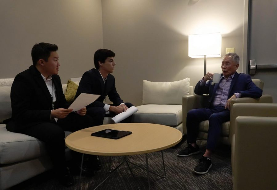 Hustler writers Hoon Kim and Logan Cromeens with George Takei. (Photo by Mattigan Kelly)