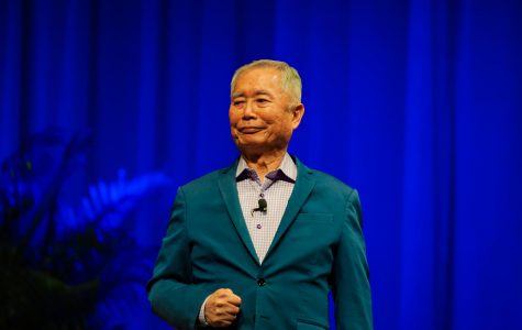 George Takei on stage at Langford Auditorium. (Photo by Truman McDaniel)