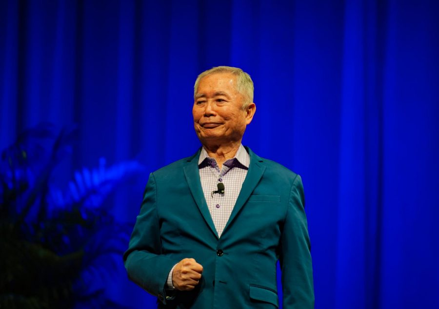 George+Takei+on+stage+at+Langford+Auditorium.+%28Photo+by+Truman+McDaniel%29